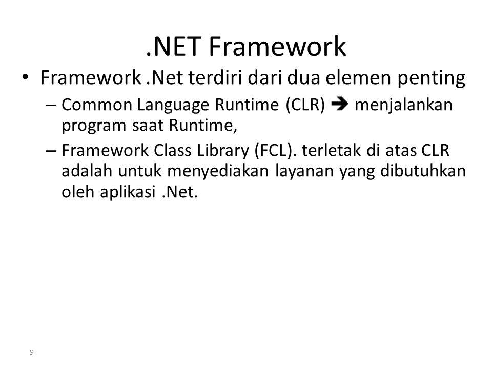 .NET Framework Framework .Net terdiri dari dua elemen penting