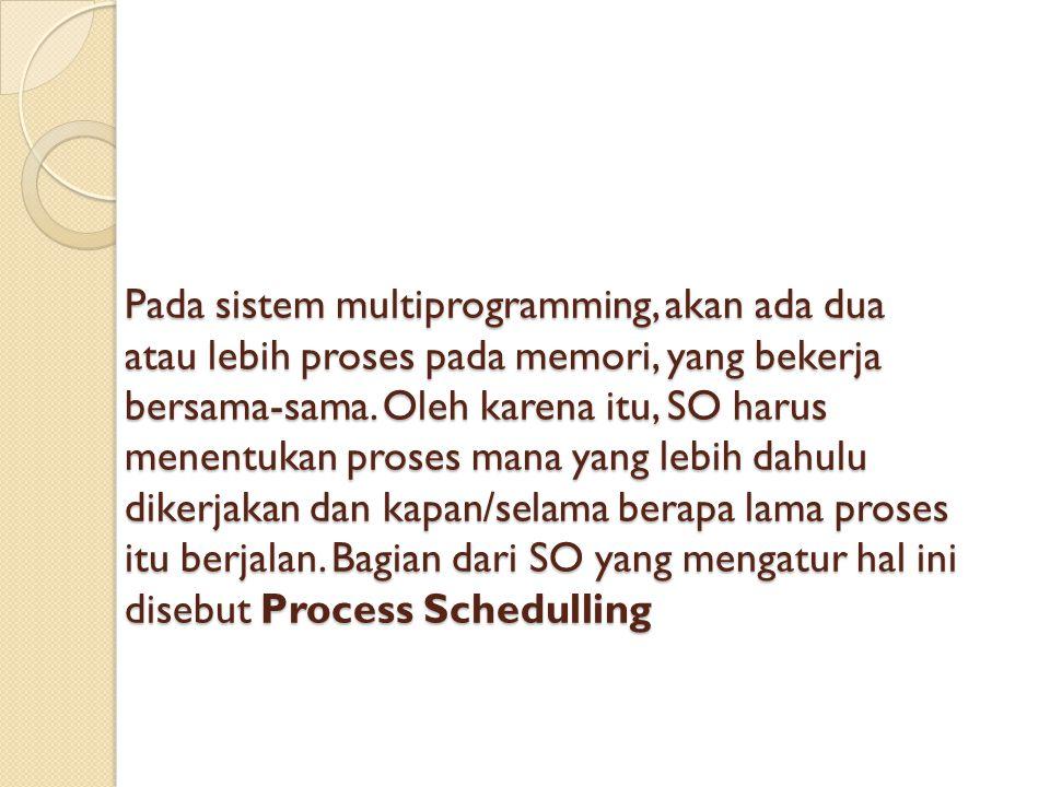 Pada sistem multiprogramming, akan ada dua atau lebih proses pada memori, yang bekerja bersama-sama.