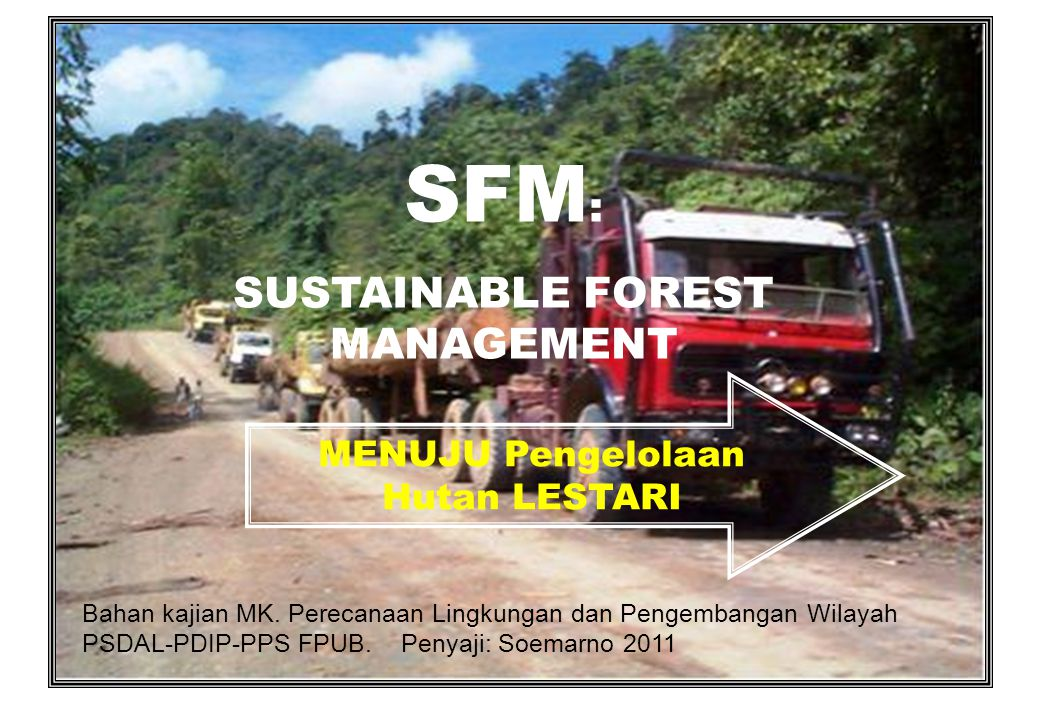 SUSTAINABLE FOREST MANAGEMENT MENUJU Pengelolaan Hutan LESTARI