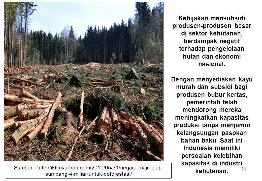 Kebijakan mensubsidi produsen-produsen besar di sektor kehutanan, berdampak negatif terhadap pengelolaan hutan dan ekonomi nasional.