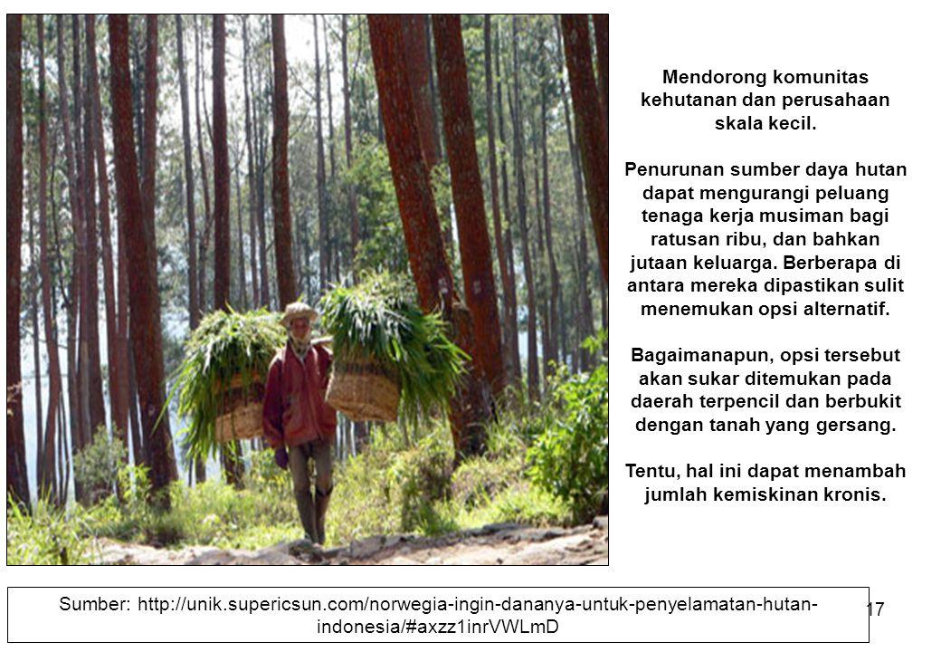 Mendorong komunitas kehutanan dan perusahaan skala kecil.