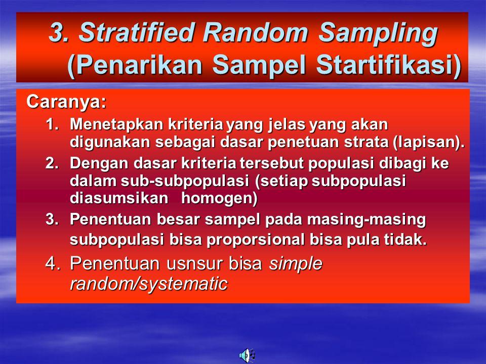 3. Stratified Random Sampling (Penarikan Sampel Startifikasi)