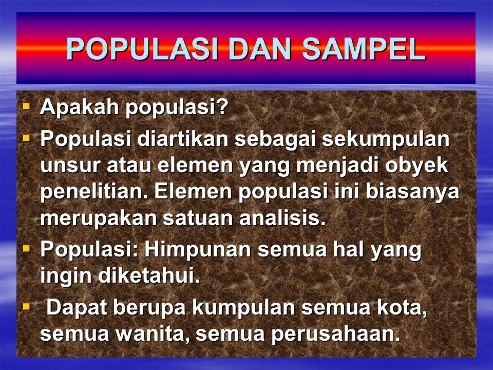POPULASI DAN SAMPEL Apakah populasi