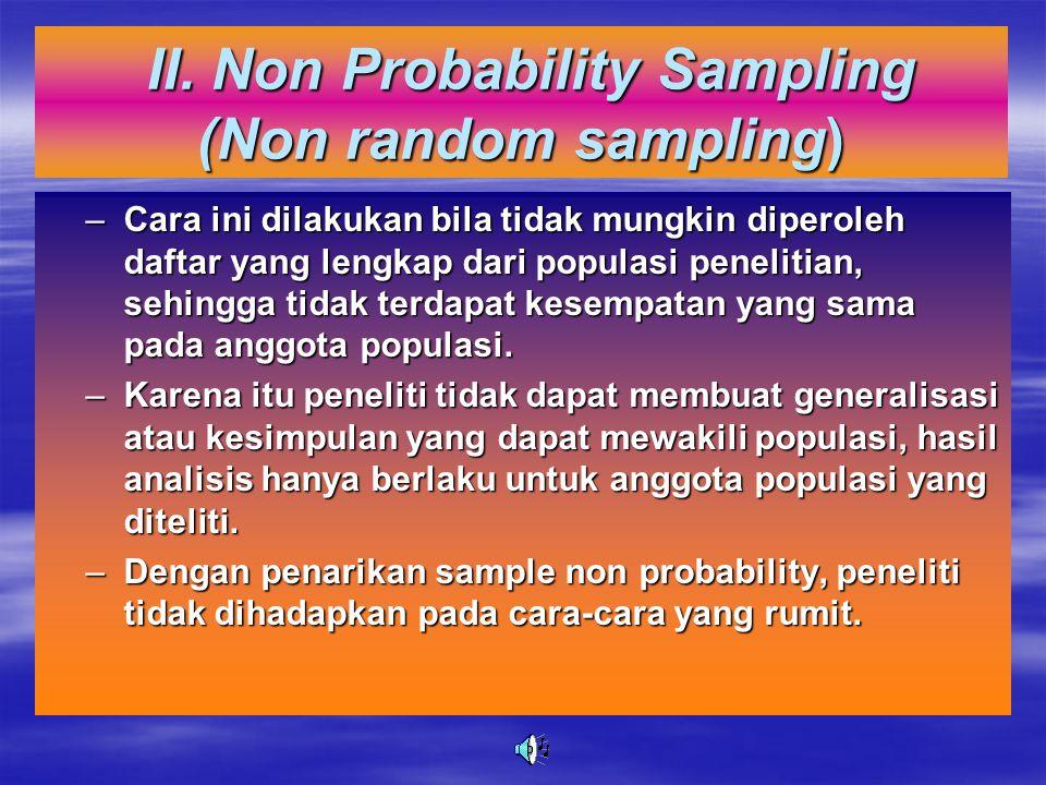 II. Non Probability Sampling (Non random sampling)