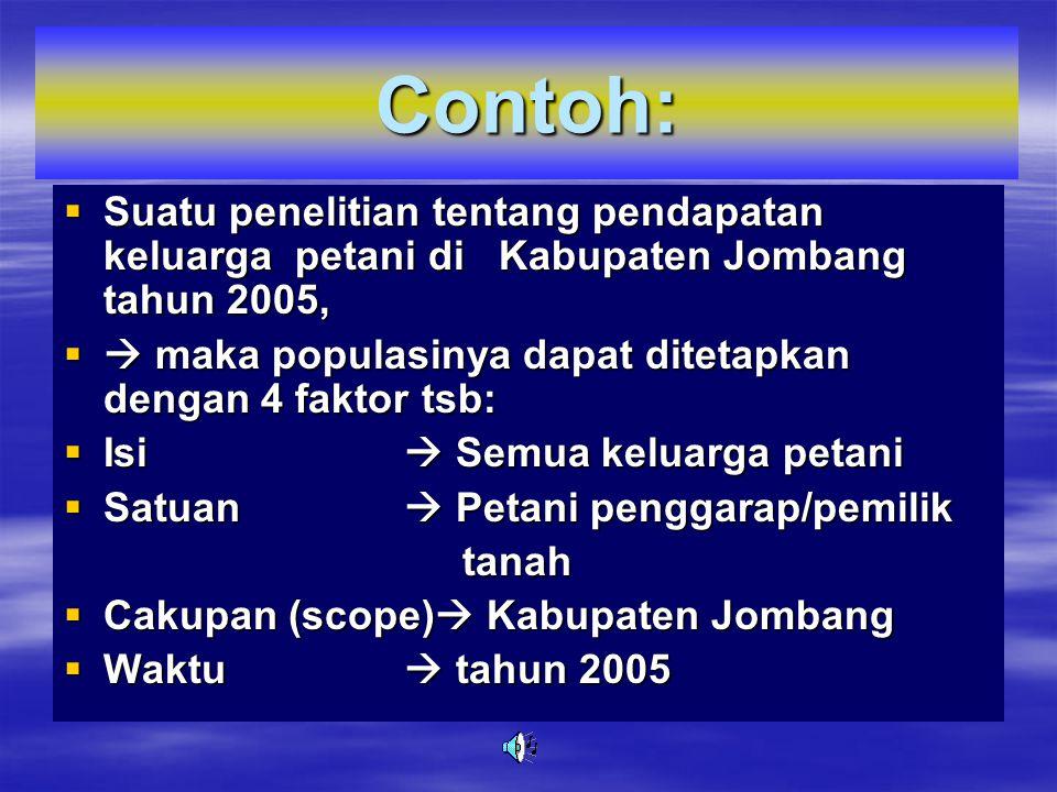 Contoh: Suatu penelitian tentang pendapatan keluarga petani di Kabupaten Jombang tahun 2005,