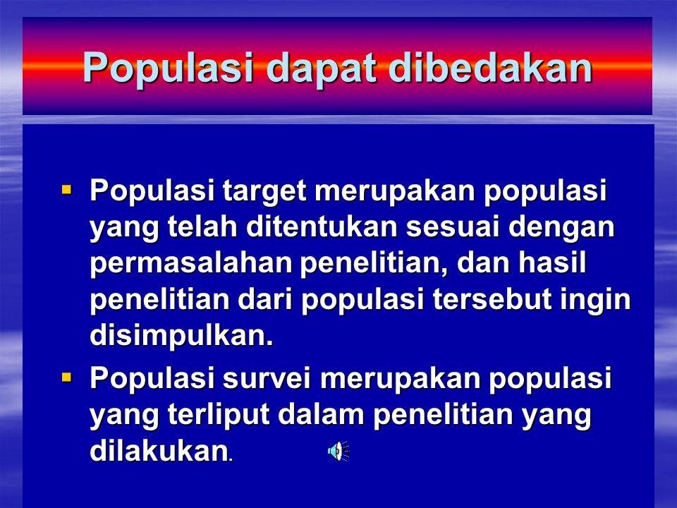Populasi dapat dibedakan