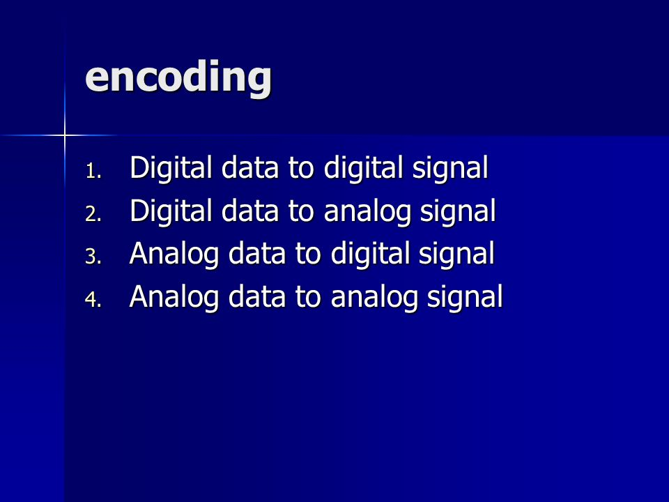 encoding Digital data to digital signal Digital data to analog signal