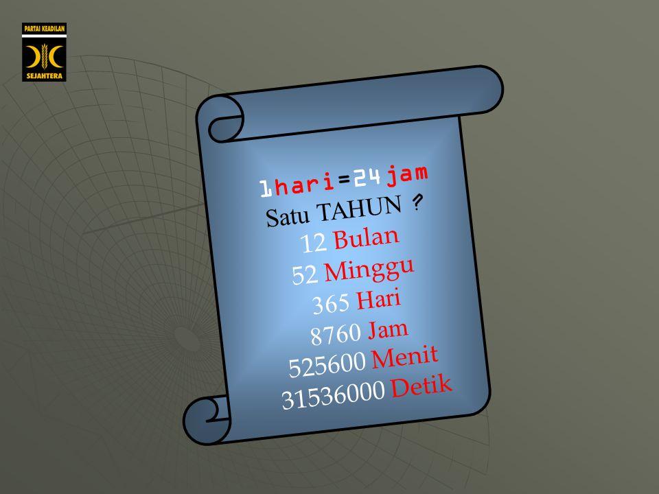 1hari=24jam Satu TAHUN 12 Bulan 52 Minggu 365 Hari 8760 Jam 525600 Menit 31536000 Detik