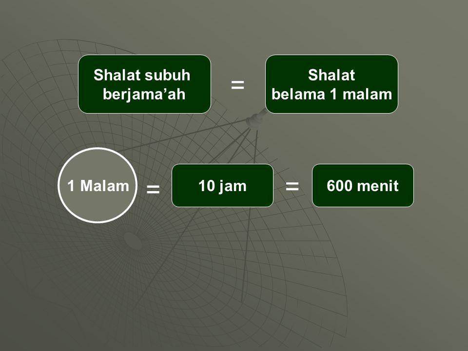 = = = Shalat subuh berjama'ah Shalat belama 1 malam 1 Malam 10 jam