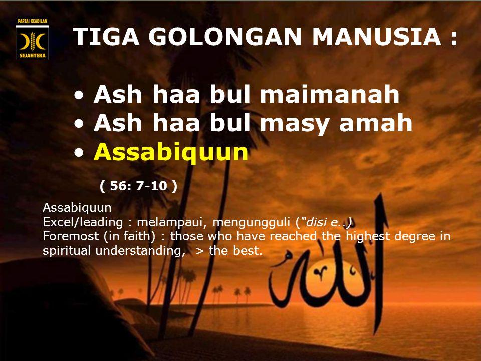TIGA GOLONGAN MANUSIA : Ash haa bul maimanah Ash haa bul masy amah