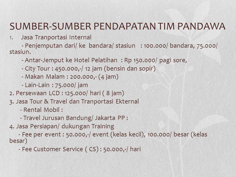 SUMBER-SUMBER PENDAPATAN TIM PANDAWA