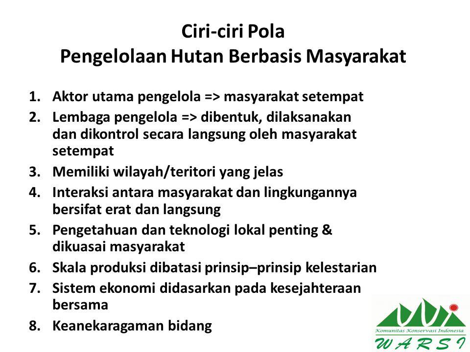 Ciri-ciri Pola Pengelolaan Hutan Berbasis Masyarakat