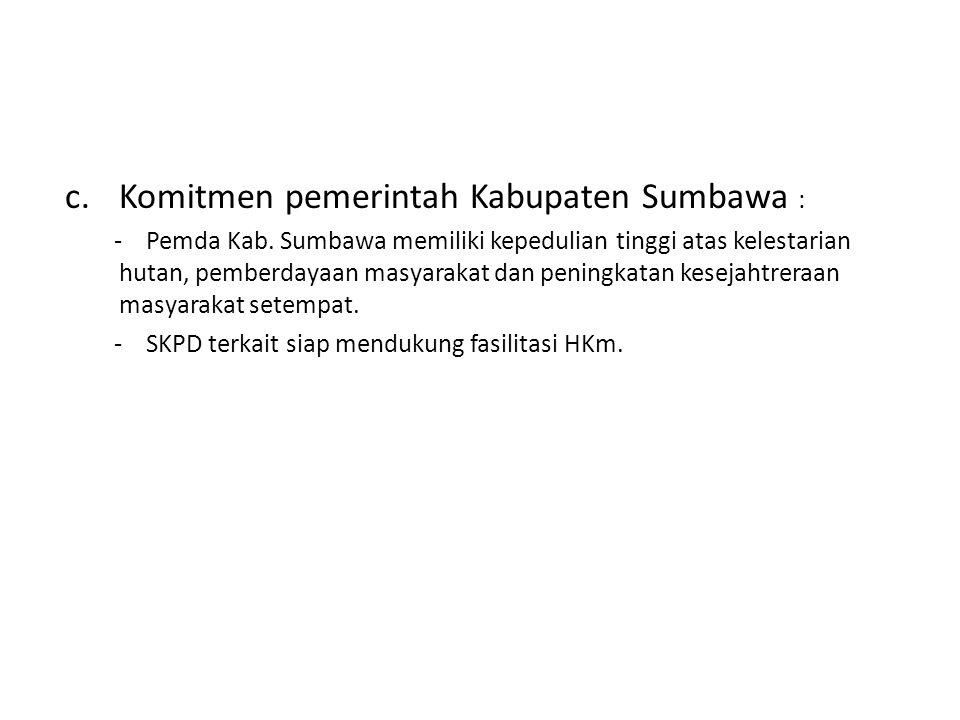 Komitmen pemerintah Kabupaten Sumbawa :