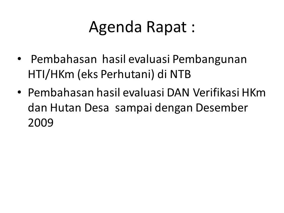 Agenda Rapat : Pembahasan hasil evaluasi Pembangunan HTI/HKm (eks Perhutani) di NTB.