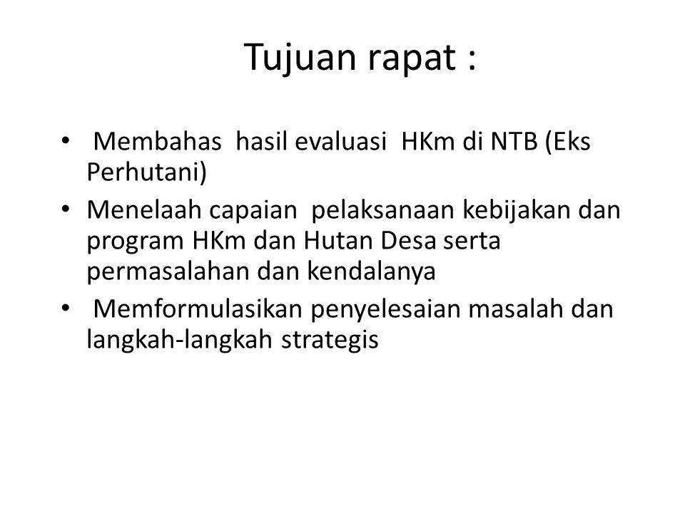 Tujuan rapat : Membahas hasil evaluasi HKm di NTB (Eks Perhutani)