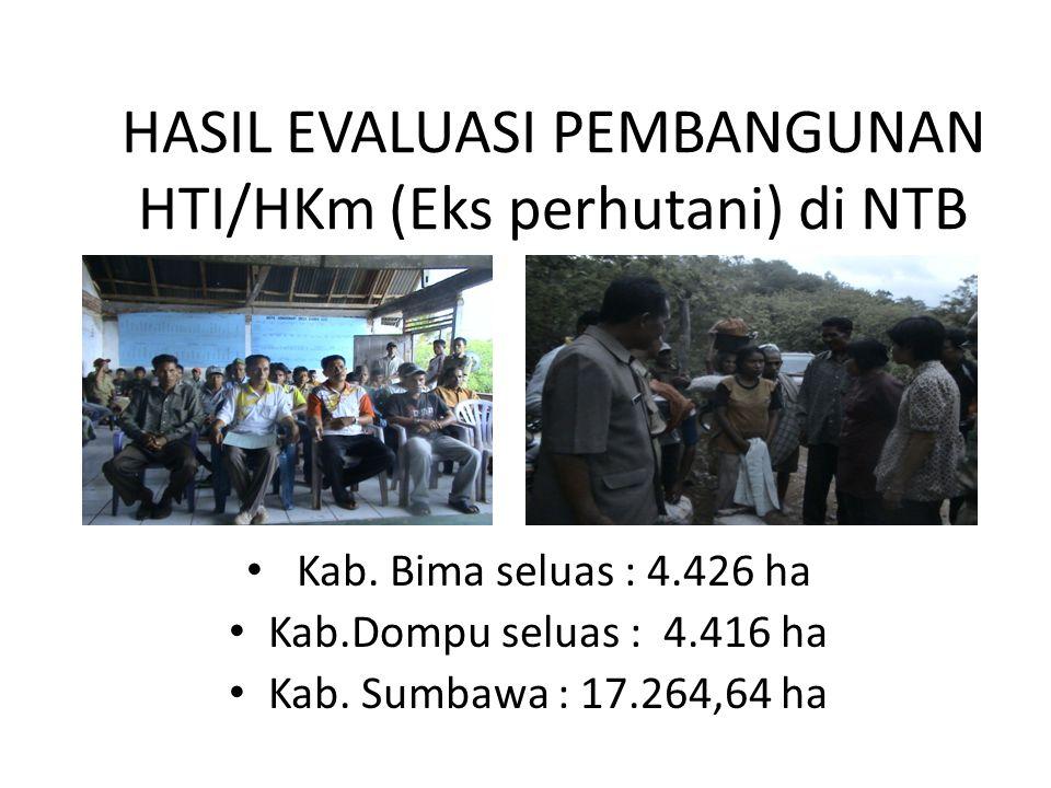 HASIL EVALUASI PEMBANGUNAN HTI/HKm (Eks perhutani) di NTB