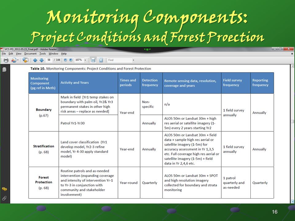 Monitoring Components: Project Conditions and Forest Proection