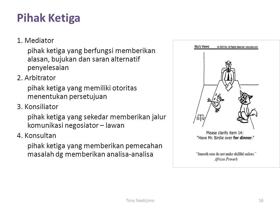 Pihak Ketiga 1. Mediator. pihak ketiga yang berfungsi memberikan alasan, bujukan dan saran alternatif penyelesaian.