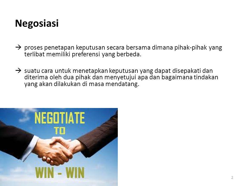Negosiasi proses penetapan keputusan secara bersama dimana pihak-pihak yang terlibat memiliki preferensi yang berbeda.