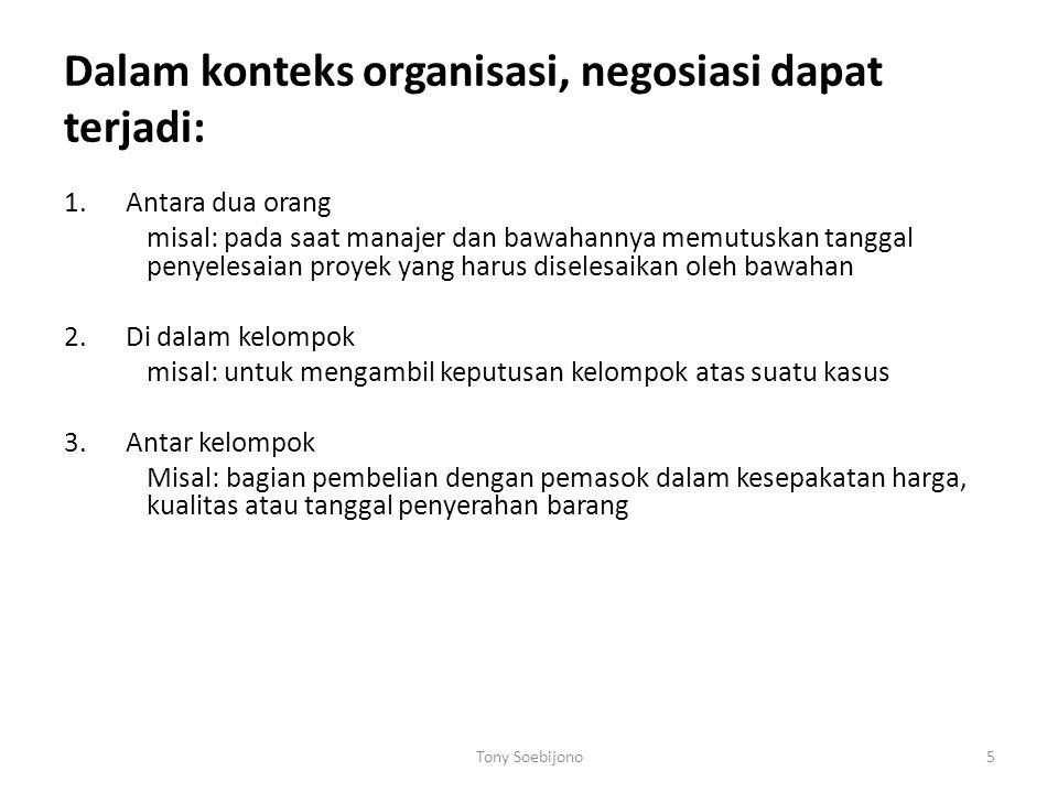 Dalam konteks organisasi, negosiasi dapat terjadi:
