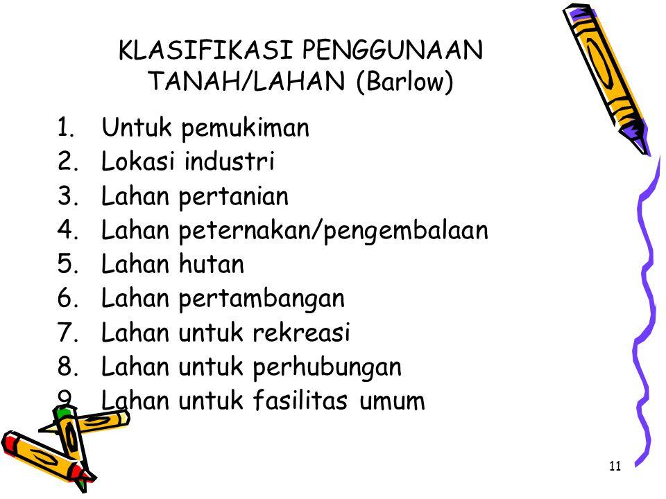 KLASIFIKASI PENGGUNAAN TANAH/LAHAN (Barlow)