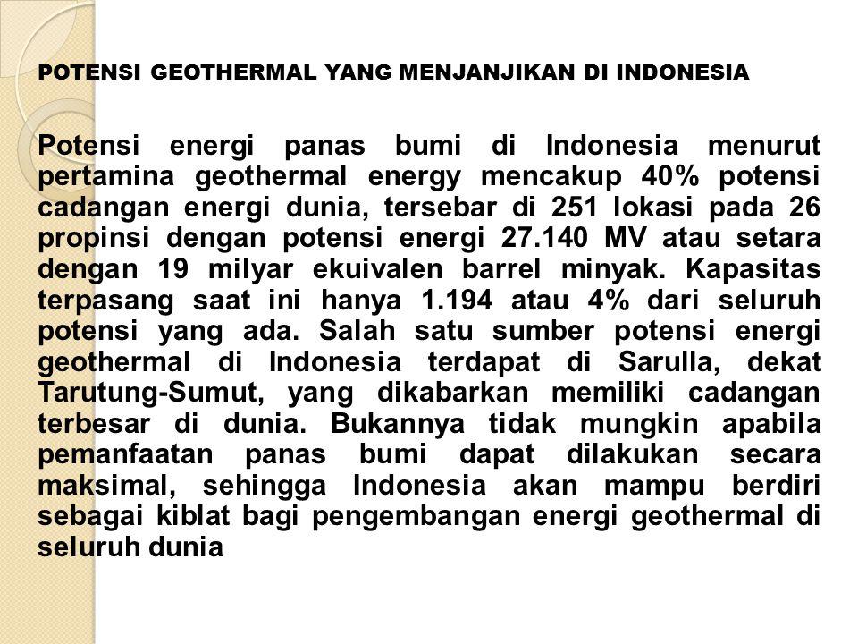 POTENSI GEOTHERMAL YANG MENJANJIKAN DI INDONESIA