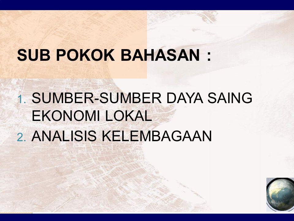 SUB POKOK BAHASAN : SUMBER-SUMBER DAYA SAING EKONOMI LOKAL