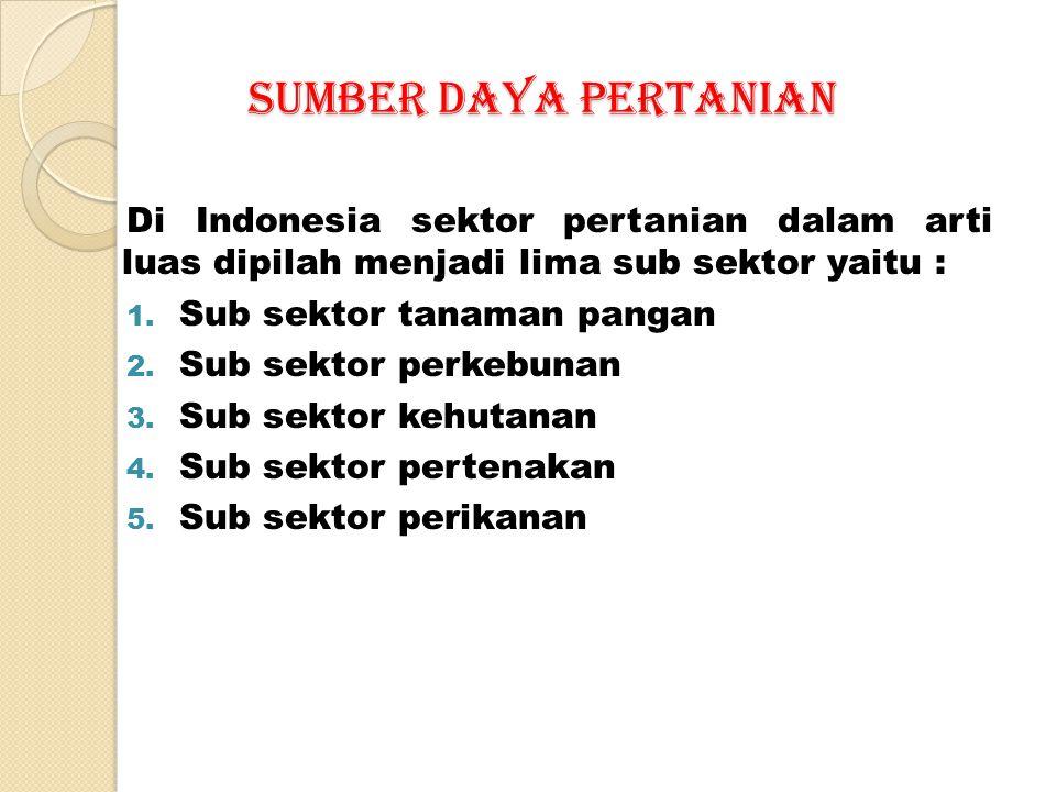 SUMBER DAYA PERTANIAN Di Indonesia sektor pertanian dalam arti luas dipilah menjadi lima sub sektor yaitu :
