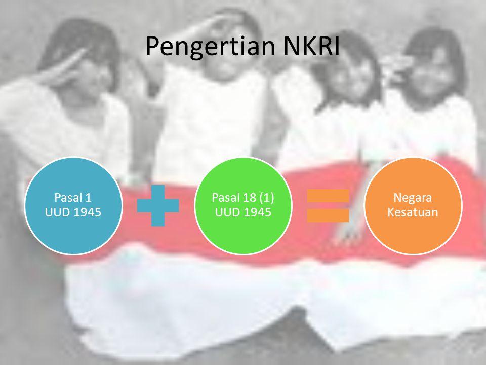 Pengertian NKRI Pasal 1 UUD 1945 Pasal 18 (1) UUD 1945 Negara Kesatuan