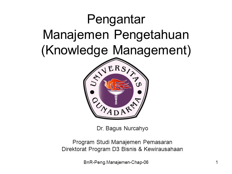 Pengantar Manajemen Pengetahuan (Knowledge Management)