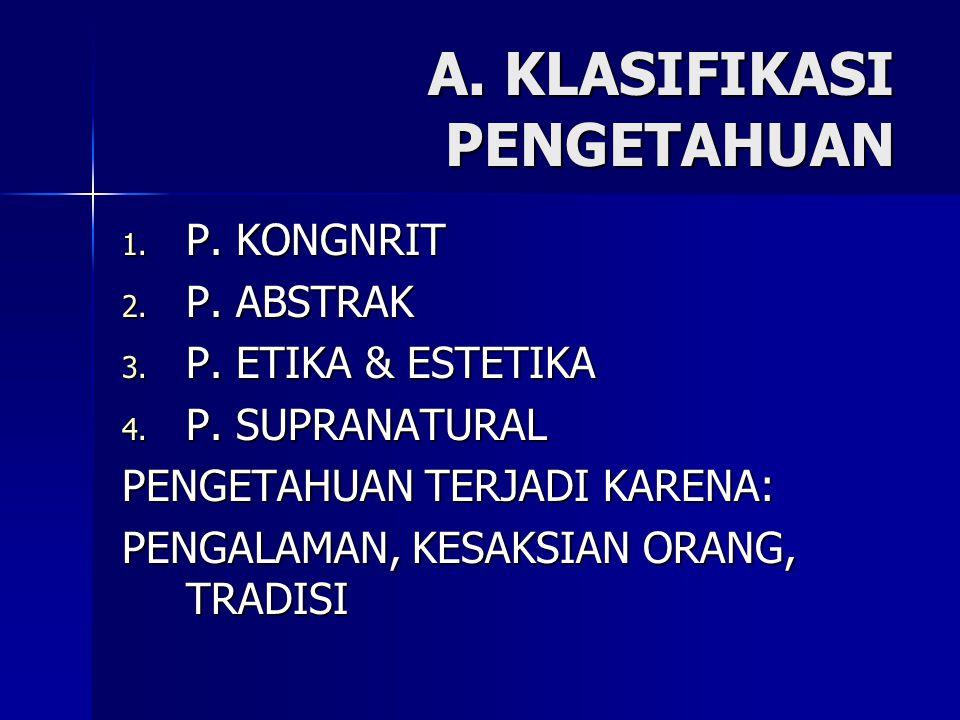 A. KLASIFIKASI PENGETAHUAN