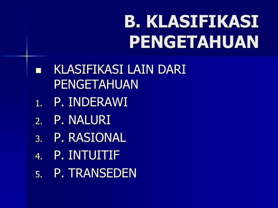 B. KLASIFIKASI PENGETAHUAN