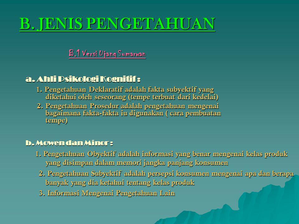 B. JENIS PENGETAHUAN B.1 Versi Ujang Sumarwan
