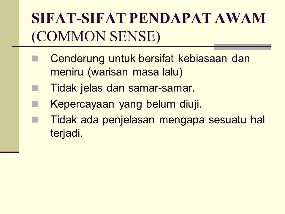 SIFAT-SIFAT PENDAPAT AWAM (COMMON SENSE)
