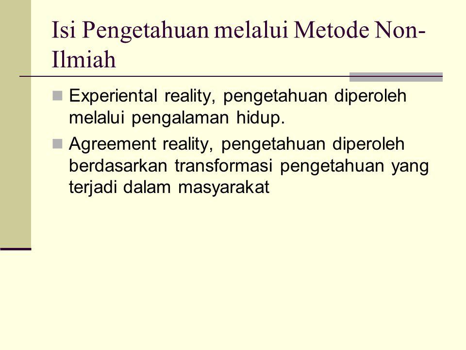 Isi Pengetahuan melalui Metode Non-Ilmiah