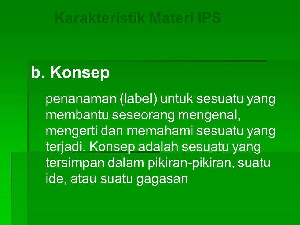 b. Konsep Karakteristik Materi IPS