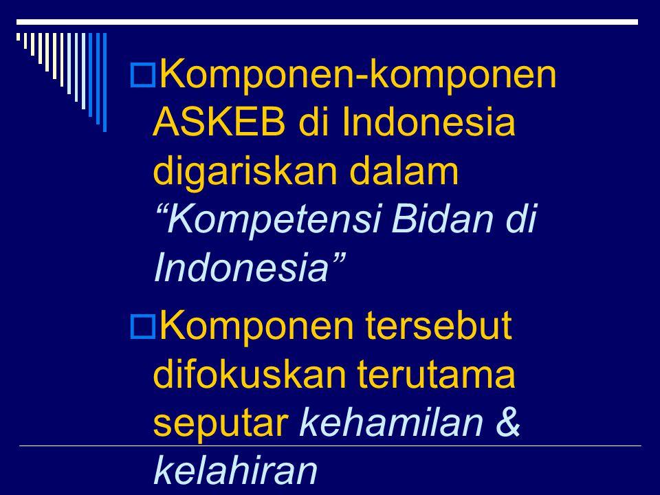 Komponen-komponen ASKEB di Indonesia digariskan dalam Kompetensi Bidan di Indonesia