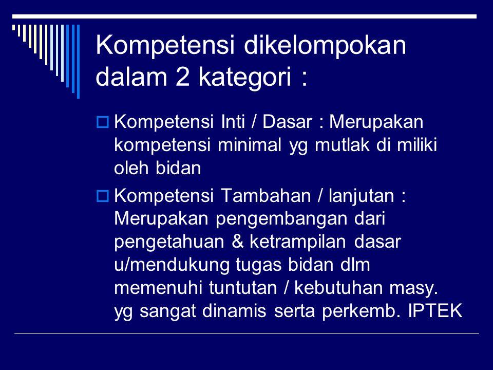 Kompetensi dikelompokan dalam 2 kategori :