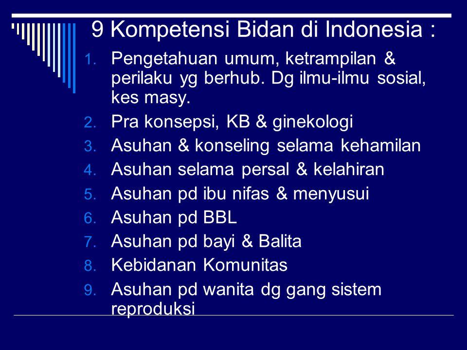 9 Kompetensi Bidan di Indonesia :