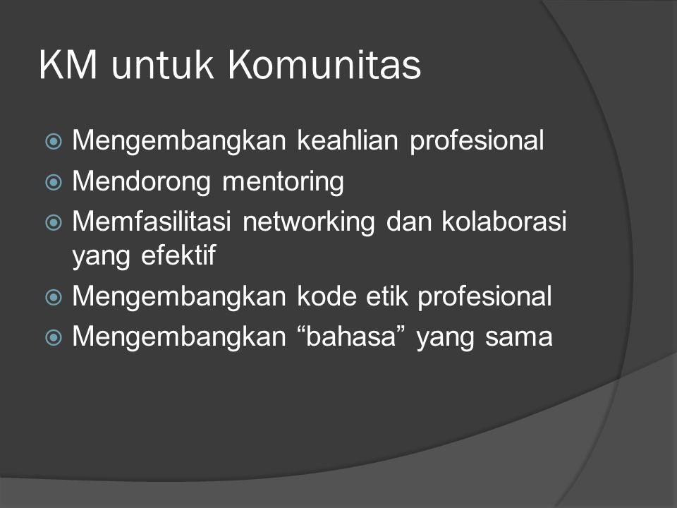 KM untuk Komunitas Mengembangkan keahlian profesional