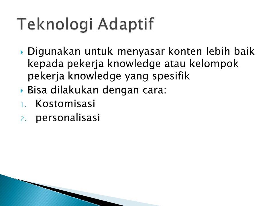 Teknologi Adaptif Digunakan untuk menyasar konten lebih baik kepada pekerja knowledge atau kelompok pekerja knowledge yang spesifik.