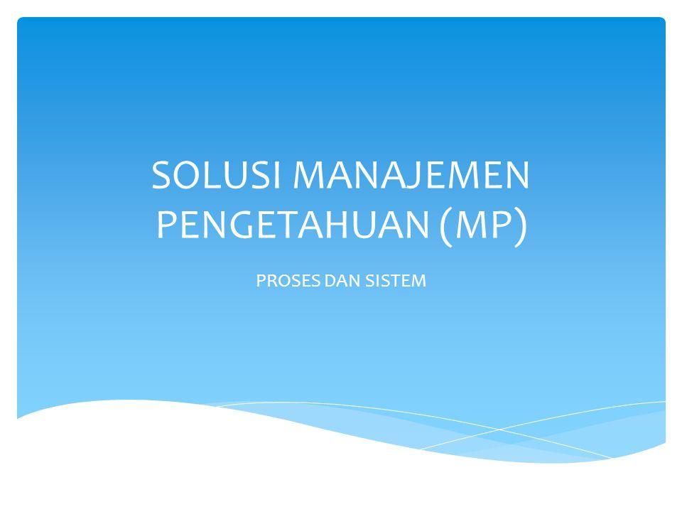 SOLUSI MANAJEMEN PENGETAHUAN (MP)
