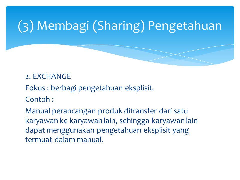 (3) Membagi (Sharing) Pengetahuan