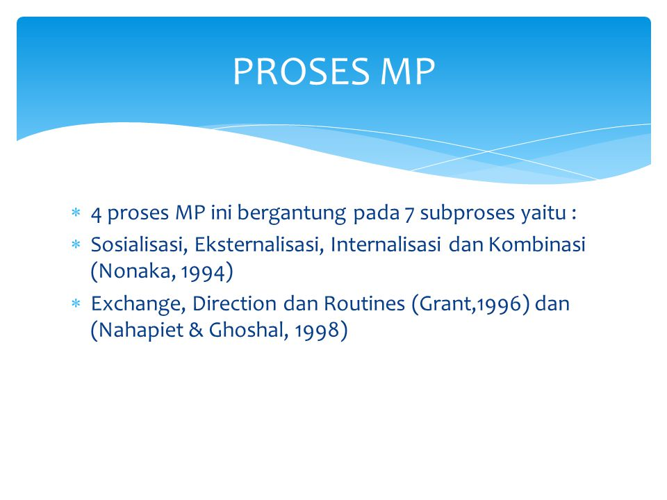 PROSES MP 4 proses MP ini bergantung pada 7 subproses yaitu :