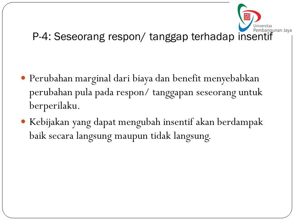 P-4: Seseorang respon/ tanggap terhadap insentif