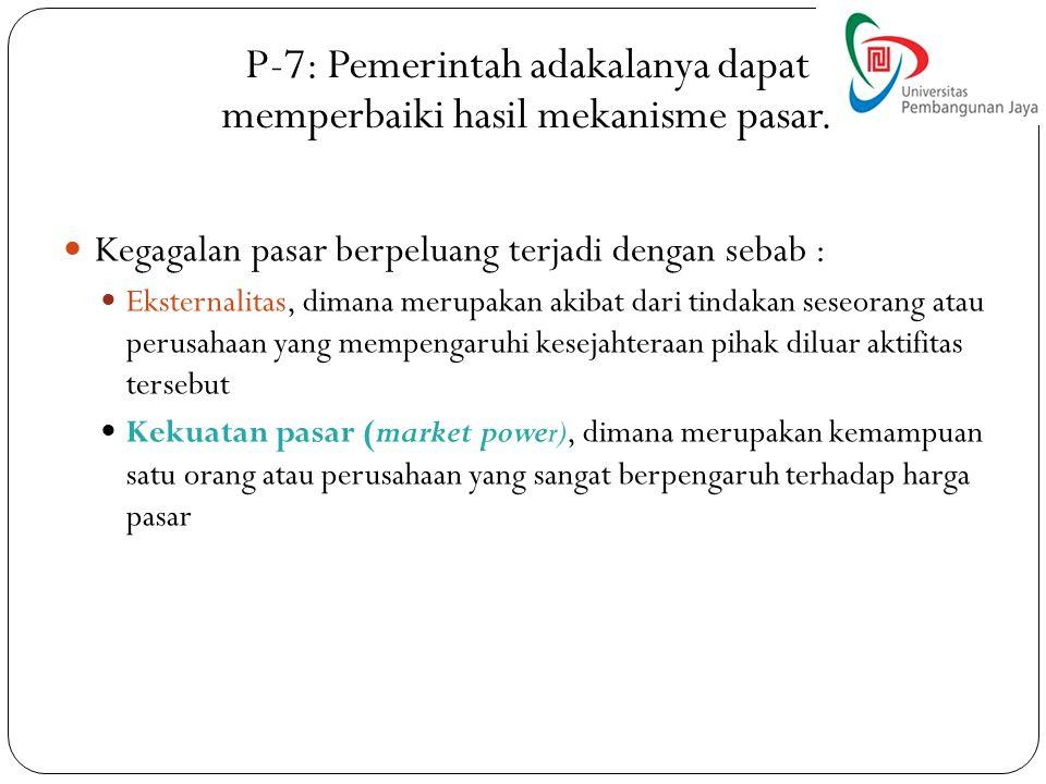 P-7: Pemerintah adakalanya dapat memperbaiki hasil mekanisme pasar.