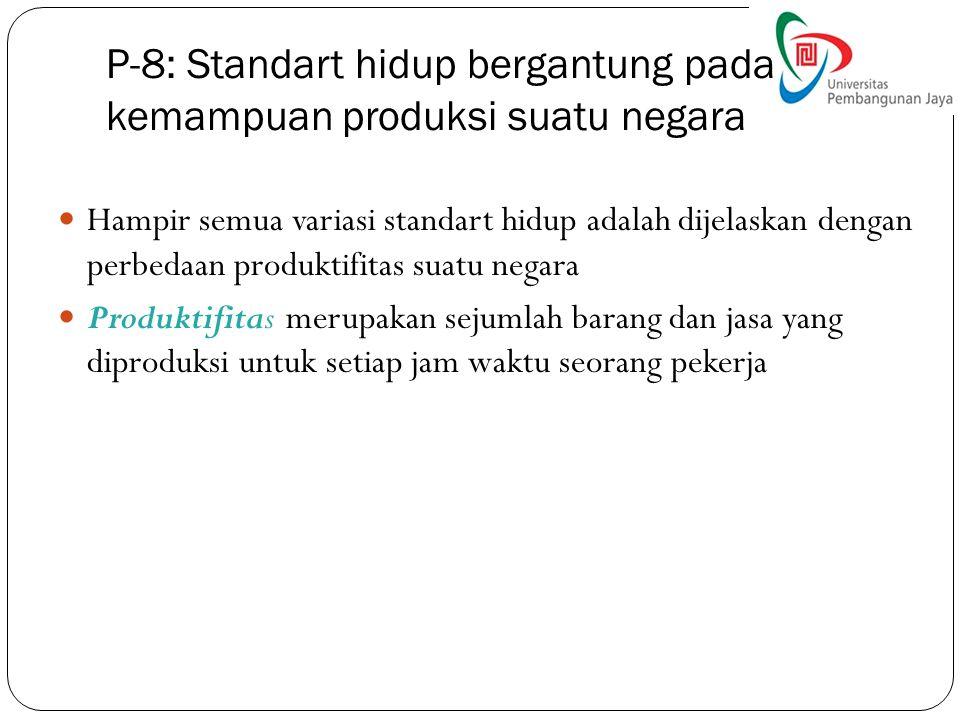 P-8: Standart hidup bergantung pada kemampuan produksi suatu negara