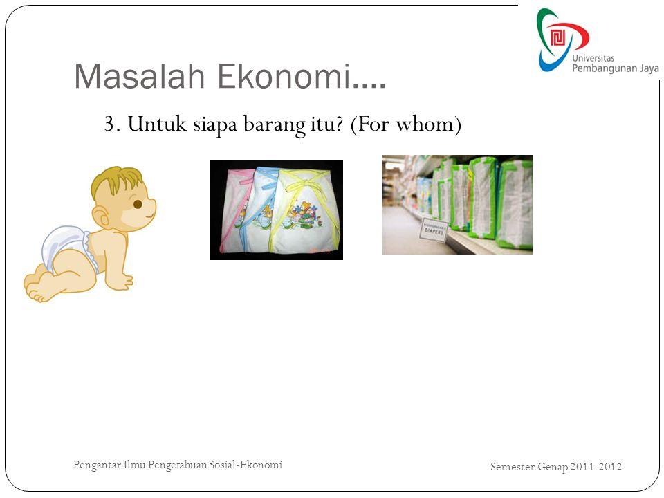 Masalah Ekonomi…. 3. Untuk siapa barang itu (For whom)
