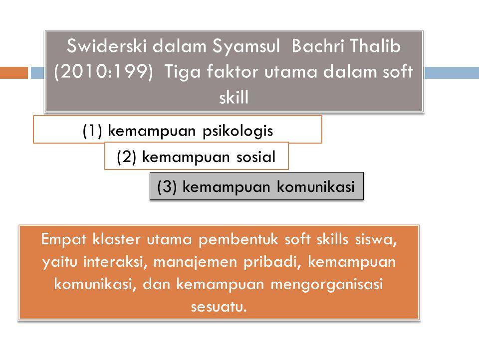 Swiderski dalam Syamsul Bachri Thalib (2010:199) Tiga faktor utama dalam soft skill