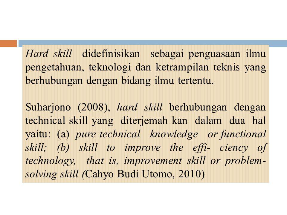 Hard skill didefinisikan sebagai penguasaan ilmu pengetahuan, teknologi dan ketrampilan teknis yang berhubungan dengan bidang ilmu tertentu.